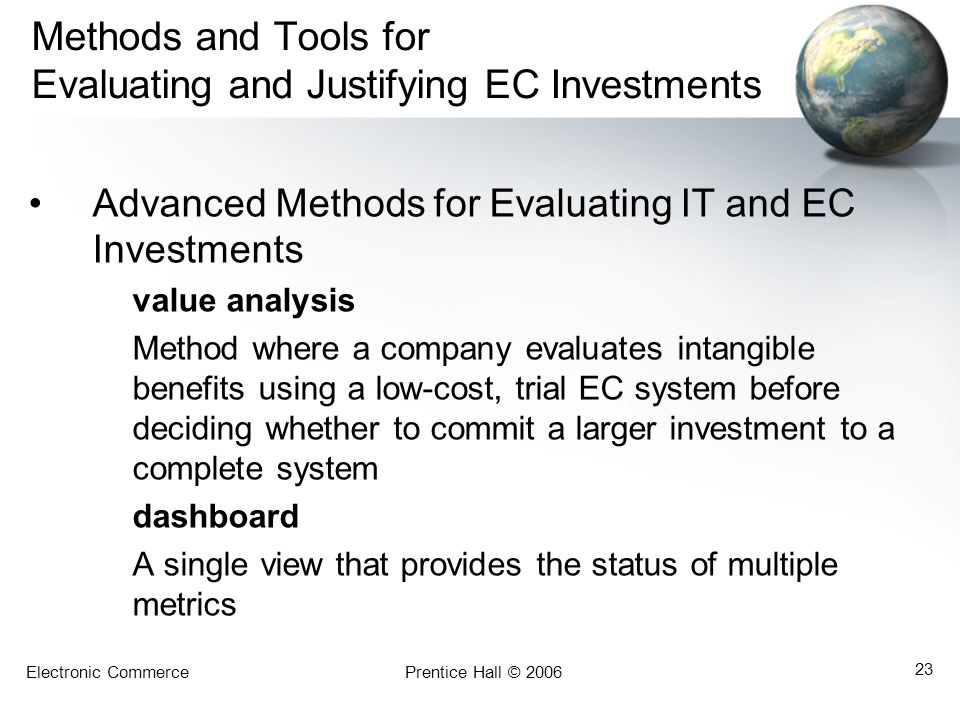 Methods and Tools for Evaluating and Justifying EC Investments