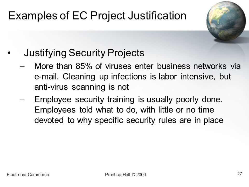 Examples of EC Project Justification