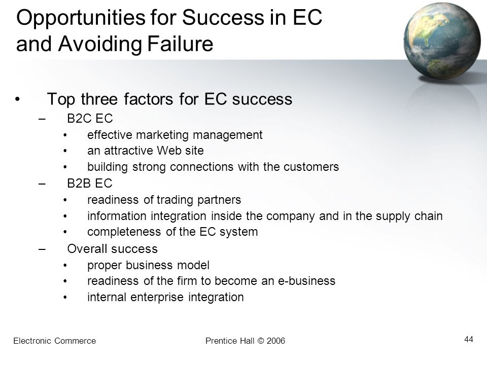 Opportunities for Success in EC and Avoiding Failure