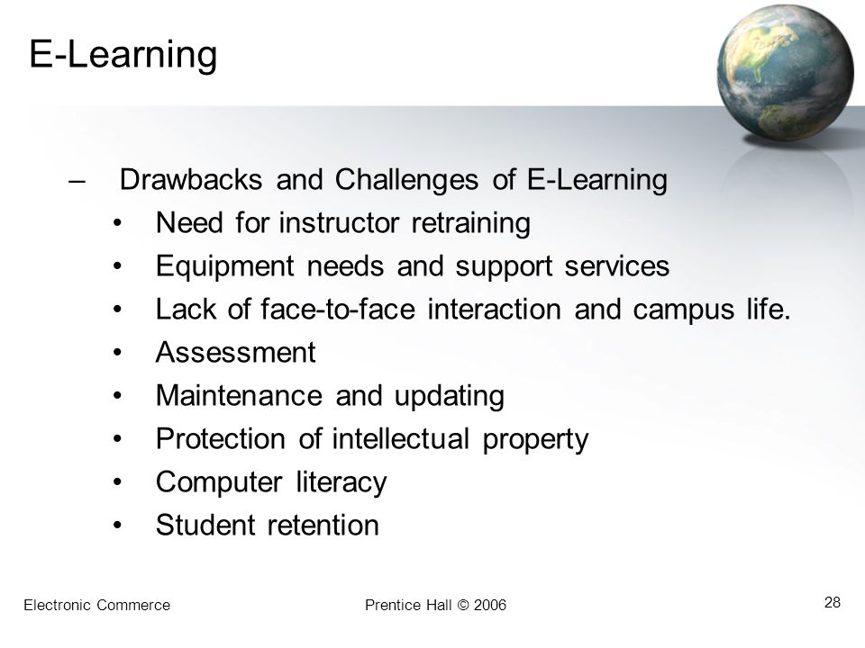 E-Learning Drawbacks and Challenges of E-Learning