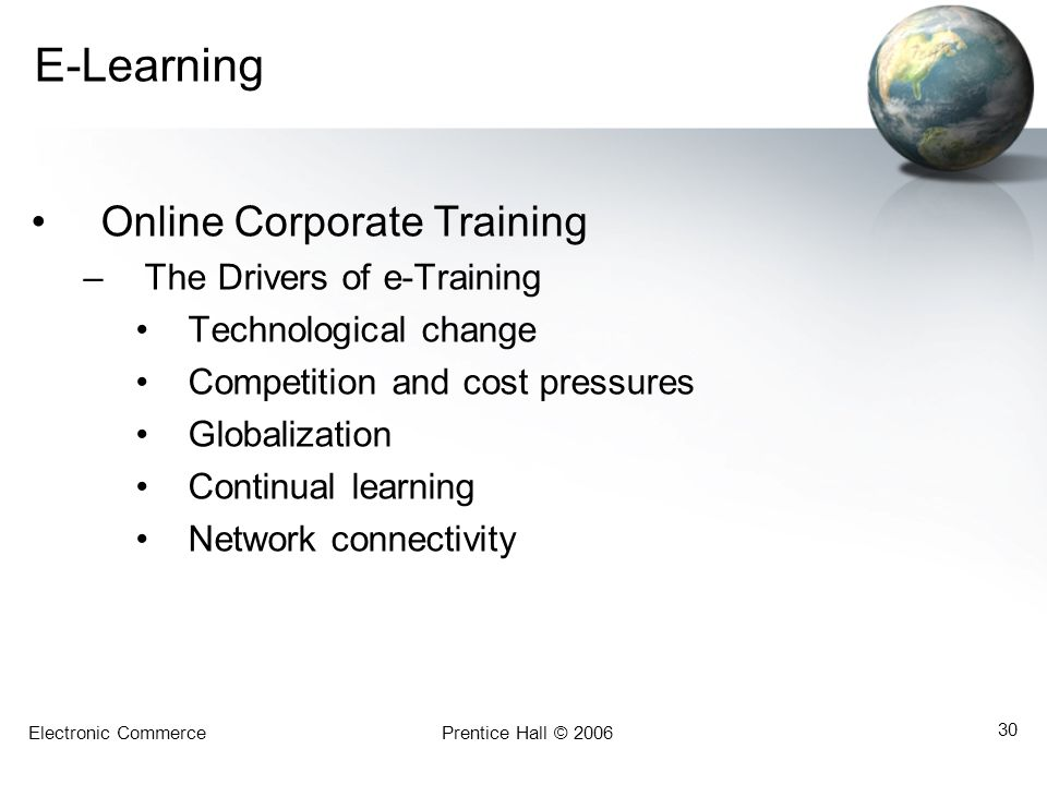 E-Learning Online Corporate Training The Drivers of e-Training