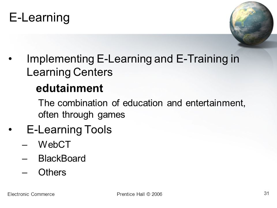 E-Learning Implementing E-Learning and E-Training in Learning Centers