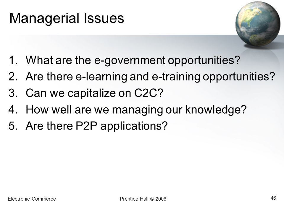 Managerial Issues What are the e-government opportunities