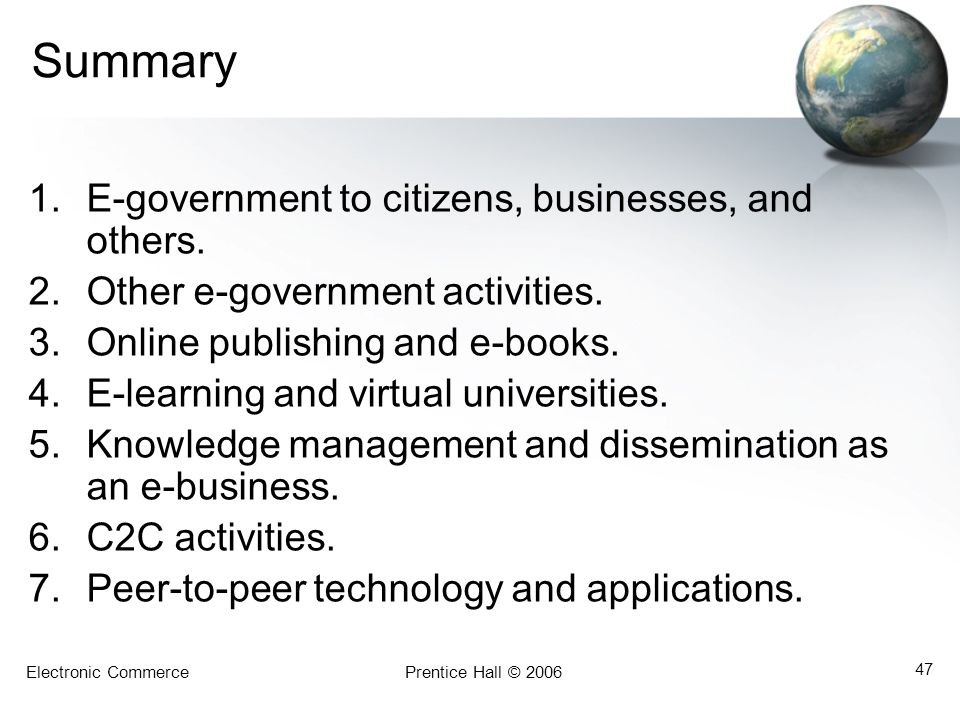 Summary E-government to citizens, businesses, and others.