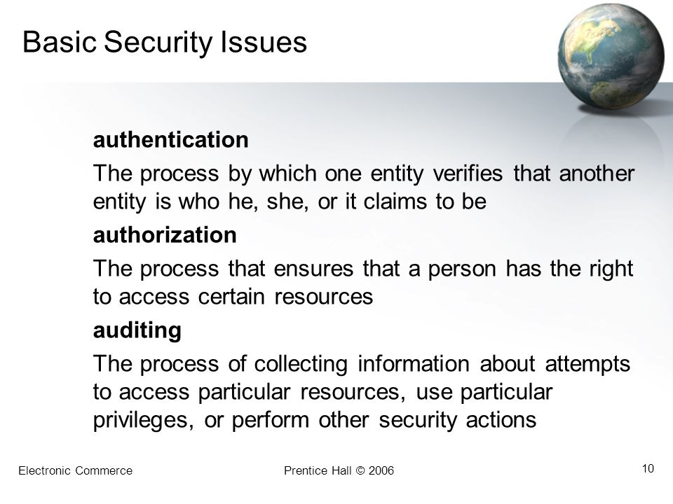 Basic Security Issues authentication