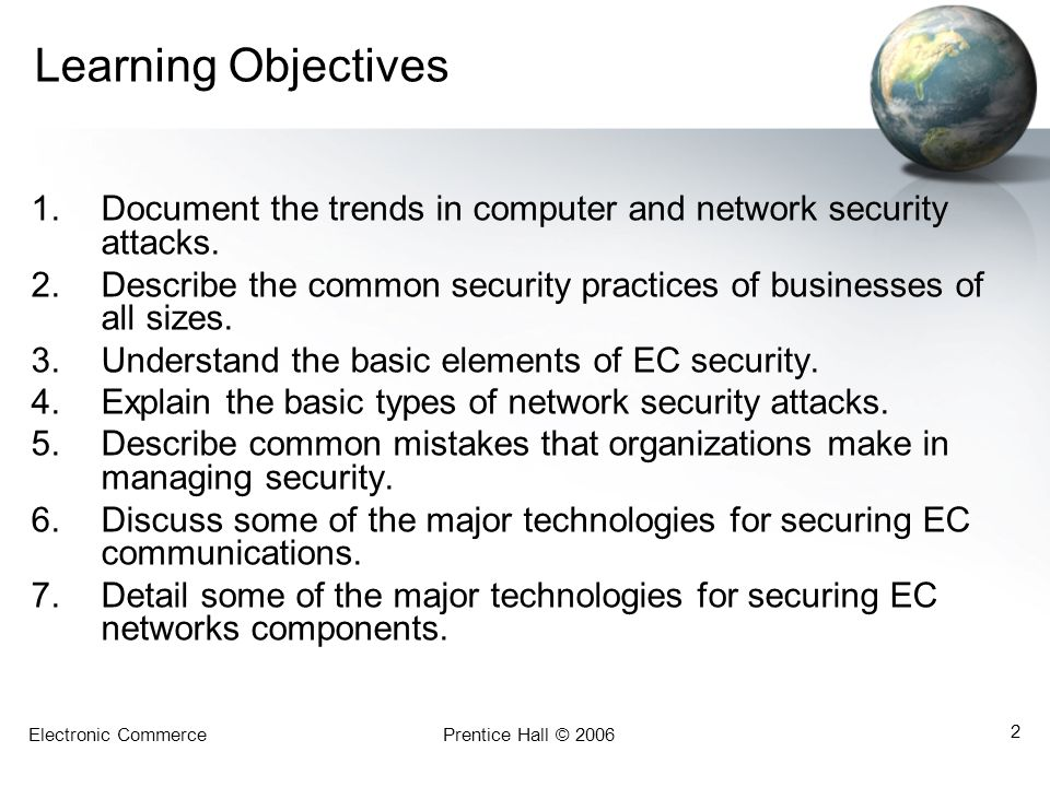 Learning Objectives Document the trends in computer and network security attacks. Describe the common security practices of businesses of all sizes.