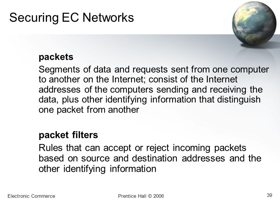 Securing EC Networks packet filters