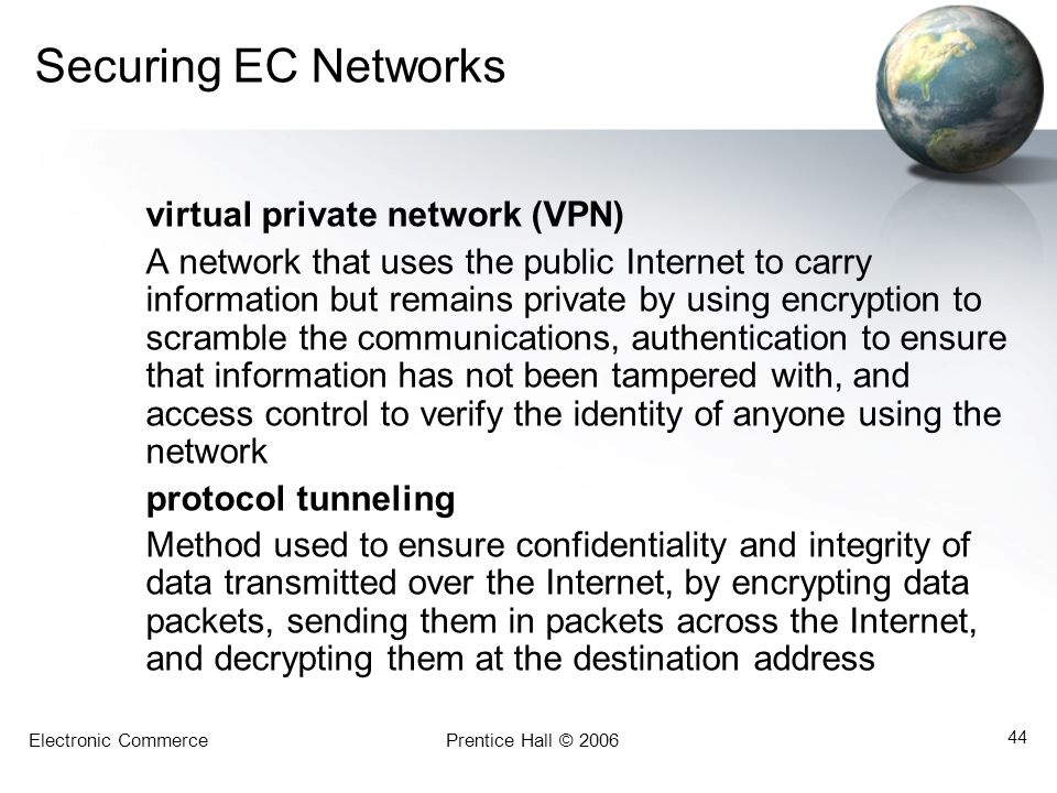 Securing EC Networks virtual private network (VPN)