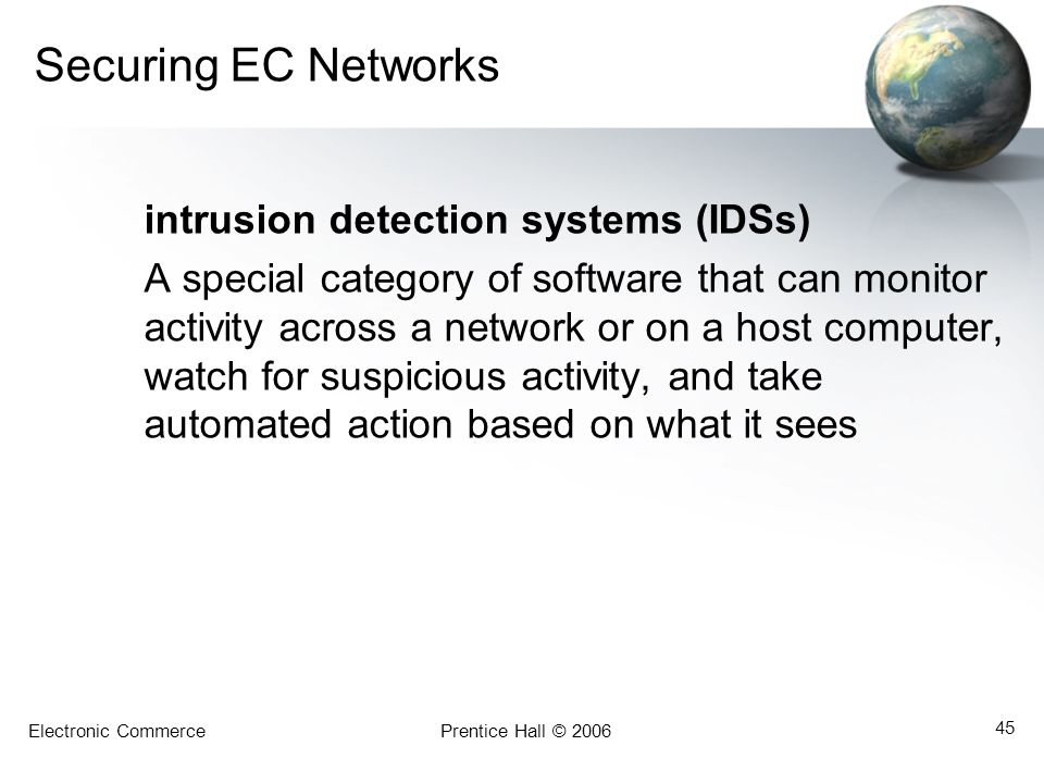 Securing EC Networks intrusion detection systems (IDSs)