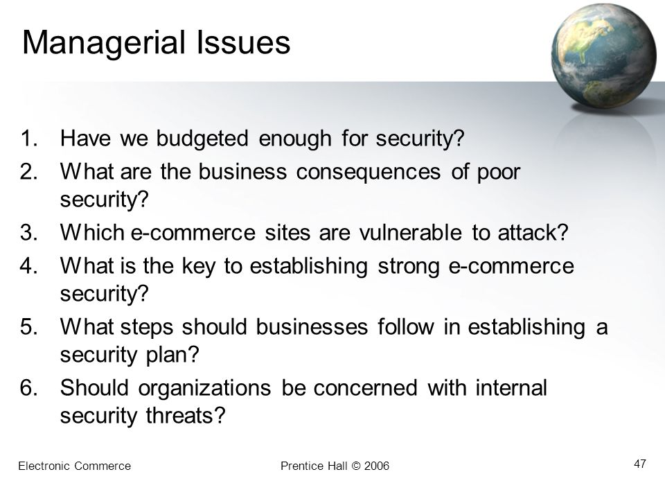 Managerial Issues Have we budgeted enough for security