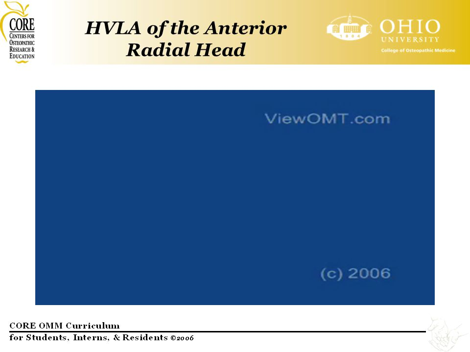 HVLA of the Anterior Radial Head
