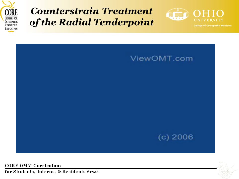 Counterstrain Treatment of the Radial Tenderpoint
