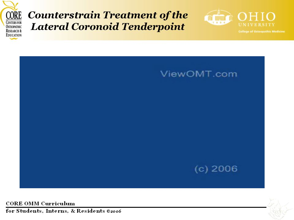 Counterstrain Treatment of the Lateral Coronoid Tenderpoint