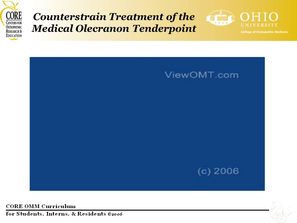 Counterstrain Treatment of the Medical Olecranon Tenderpoint