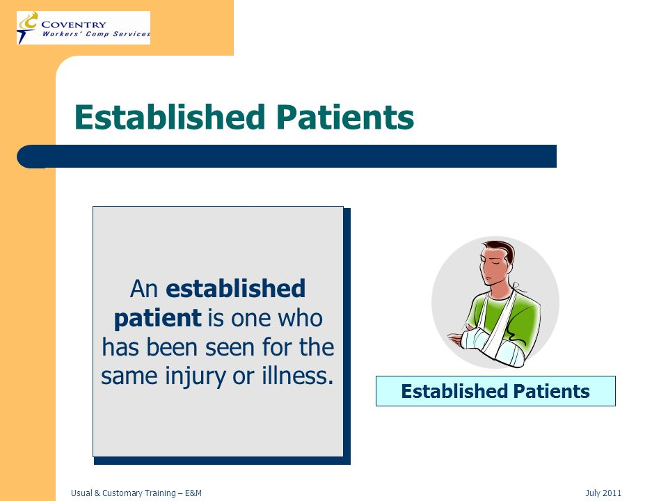 Established Patients An established patient is one who has been seen for the same injury or illness.