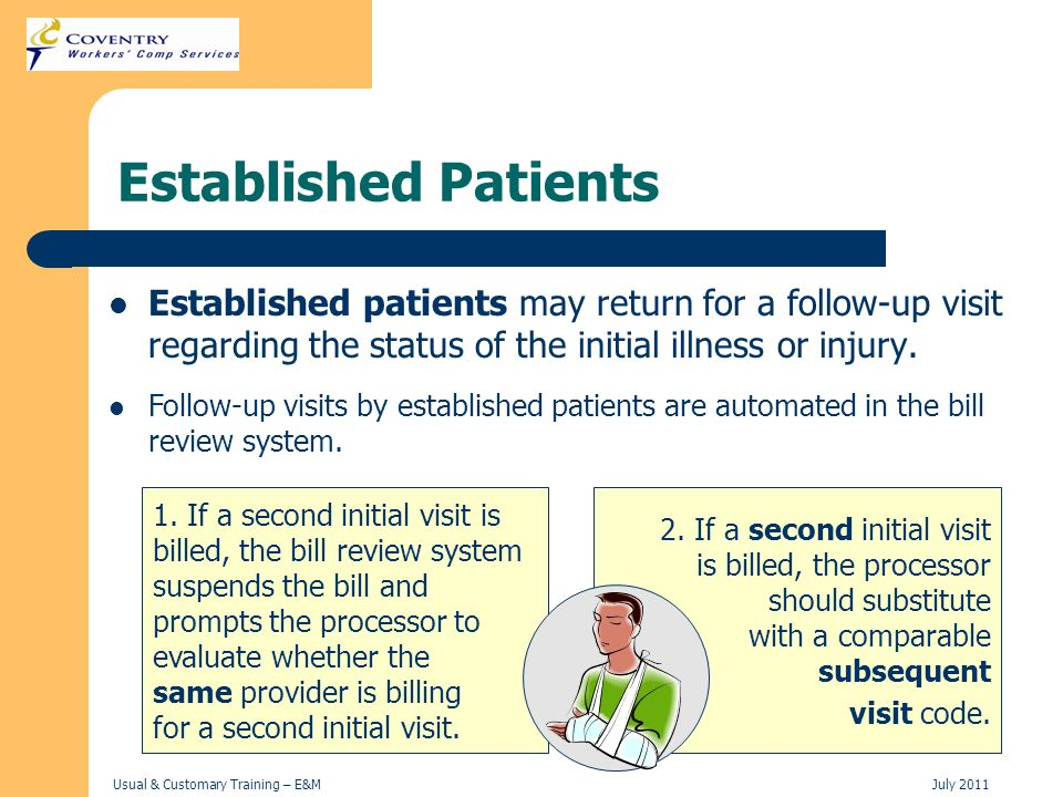 Established Patients Established patients may return for a follow-up visit regarding the status of the initial illness or injury.