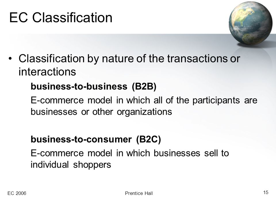 EC Classification Classification by nature of the transactions or interactions. business-to-business (B2B)