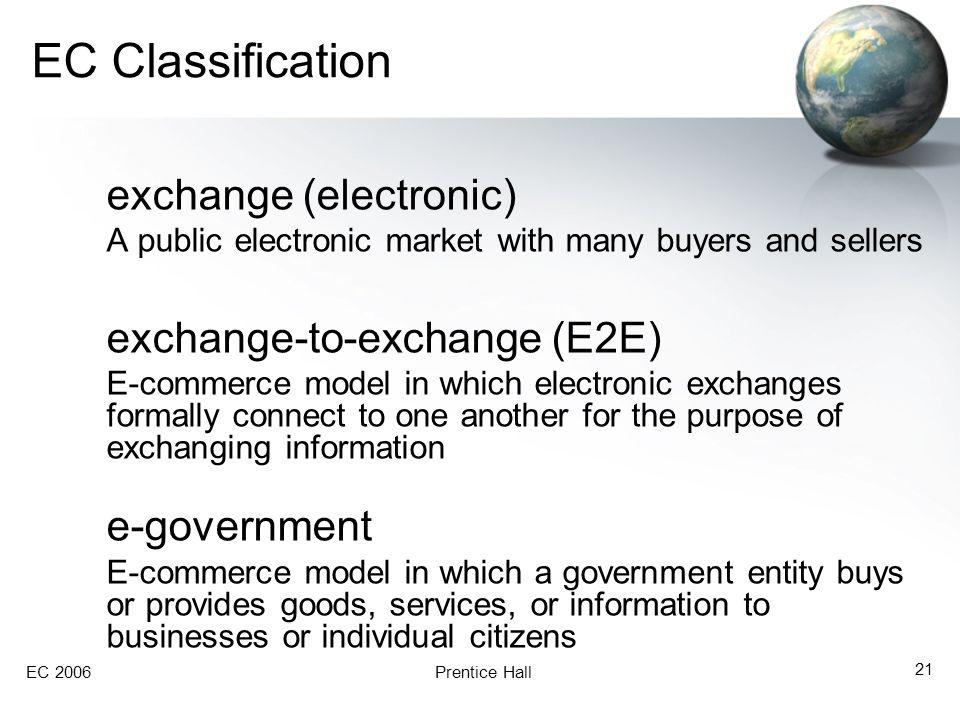 EC Classification exchange (electronic) exchange-to-exchange (E2E)