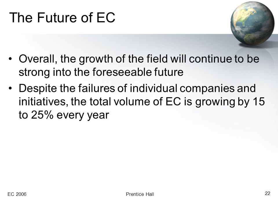 The Future of EC Overall, the growth of the field will continue to be strong into the foreseeable future.