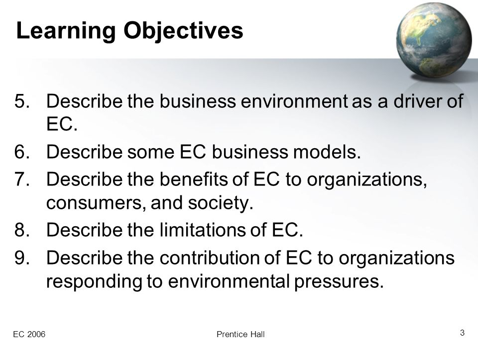 Learning Objectives Describe the business environment as a driver of EC. Describe some EC business models.