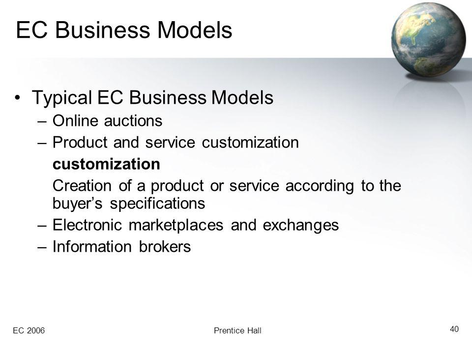 EC Business Models Typical EC Business Models Online auctions