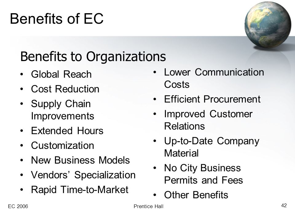 Benefits of EC Benefits to Organizations Lower Communication Costs