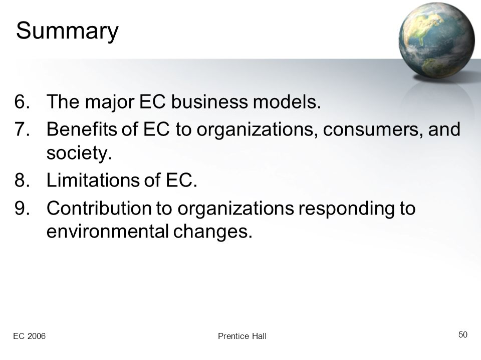 Summary The major EC business models.