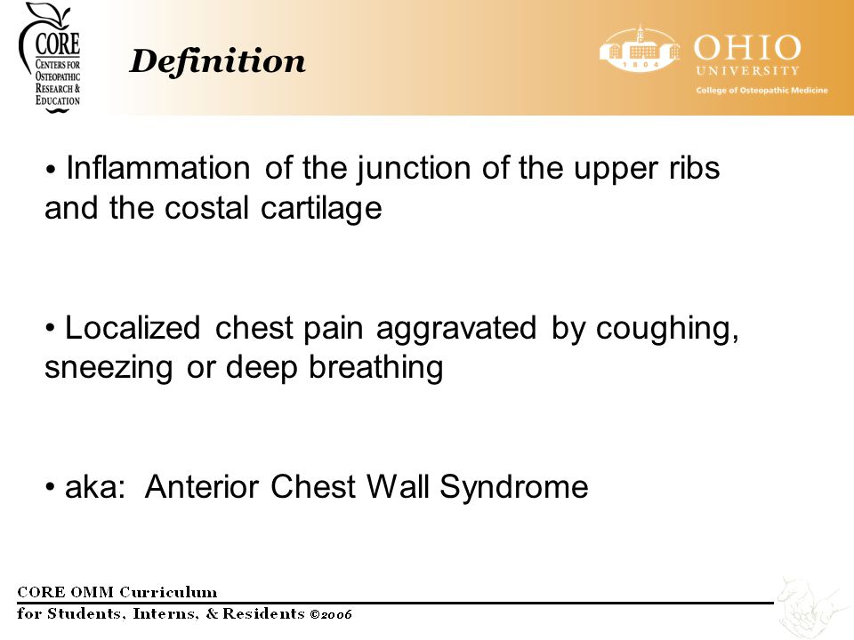 Definition Inflammation of the junction of the upper ribs and the costal cartilage.