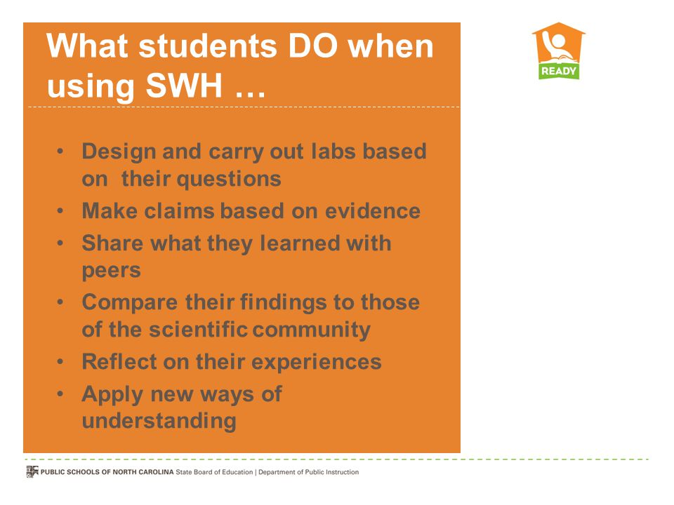 What students DO when using SWH …