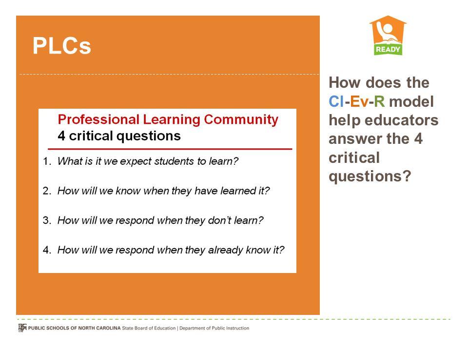 PLCs How does the Cl-Ev-R model help educators answer the 4 critical questions