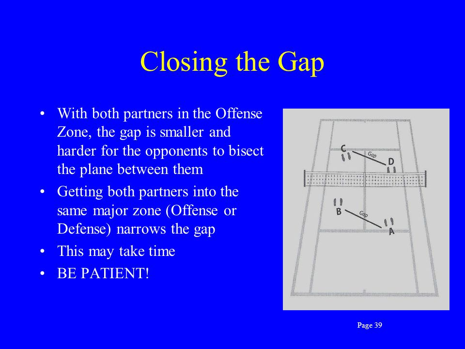 Closing the Gap With both partners in the Offense Zone, the gap is smaller and harder for the opponents to bisect the plane between them.