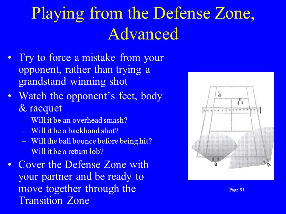 Playing from the Defense Zone, Advanced