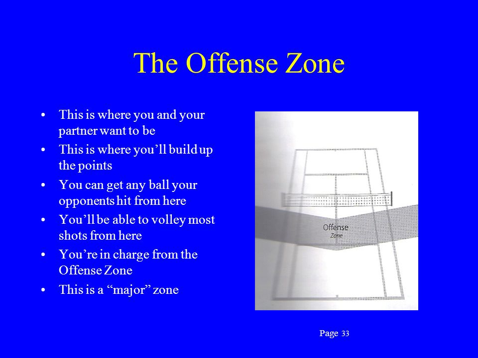 The Offense Zone This is where you and your partner want to be