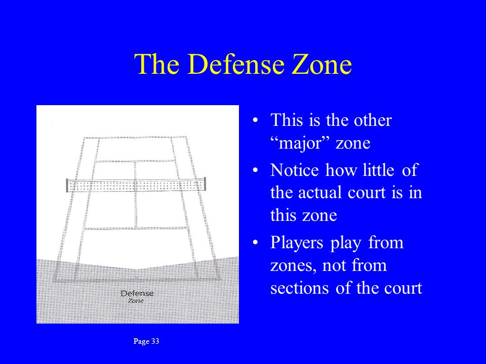 The Defense Zone This is the other major zone