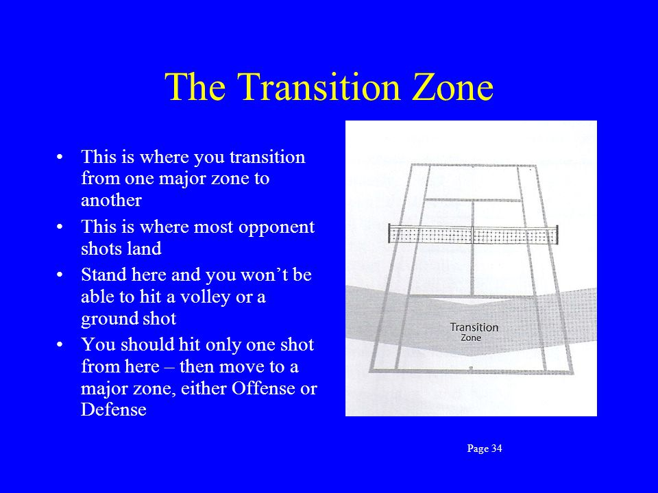 The Transition Zone This is where you transition from one major zone to another. This is where most opponent shots land.