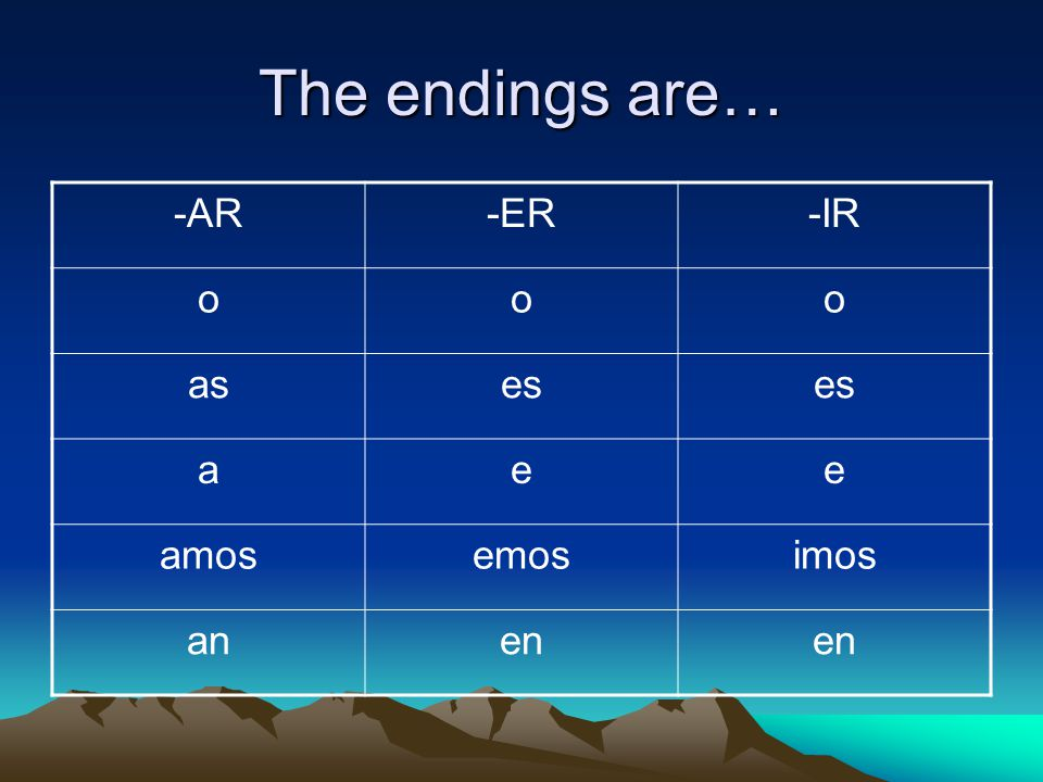 The endings are… -AR -ER -IR o as es a e amos emos imos an en
