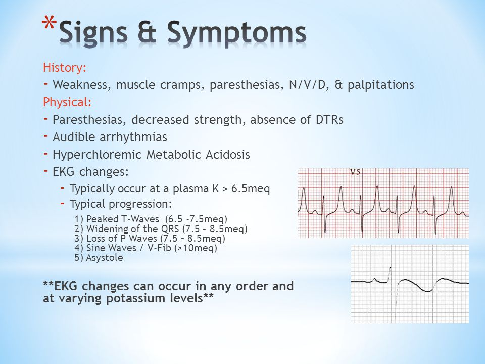 Signs & Symptoms History: