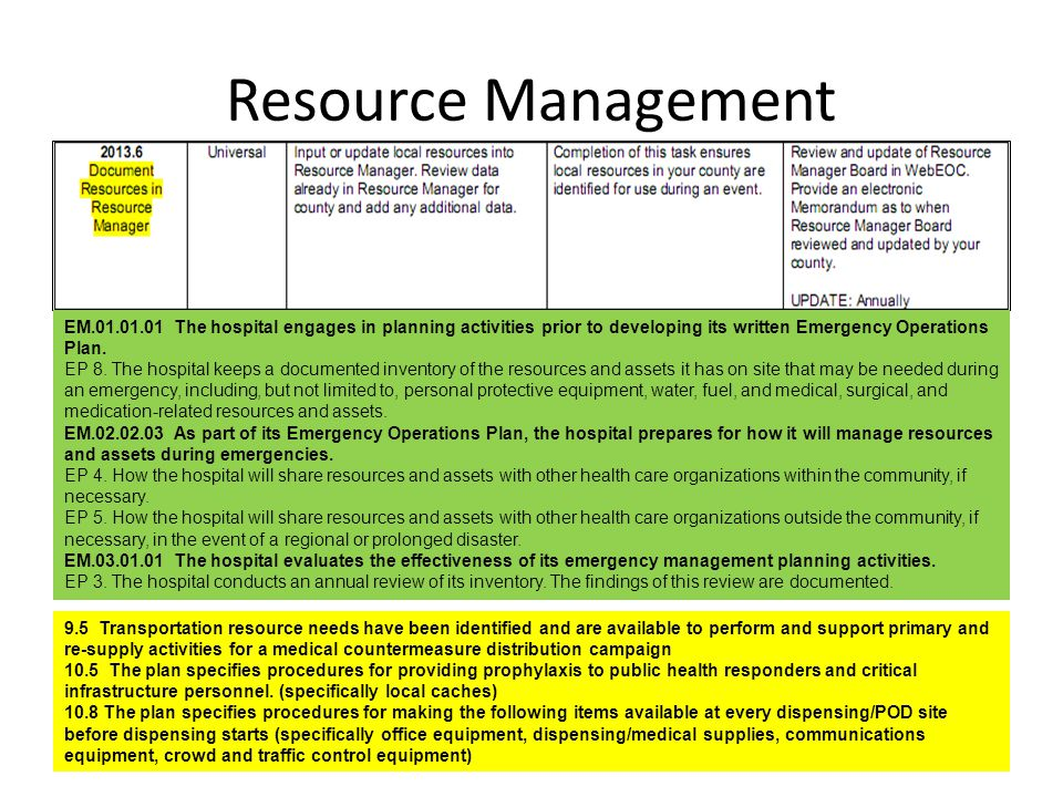 Resource Management EM.01.01.01 The hospital engages in planning activities prior to developing its written Emergency Operations Plan.