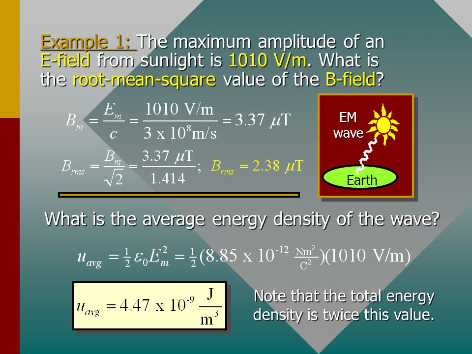 Note that the total energy density is twice this value.
