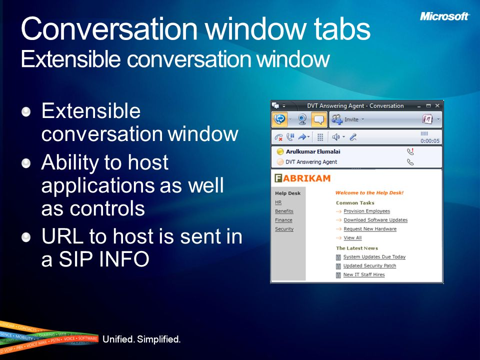 Conversation window tabs Extensible conversation window
