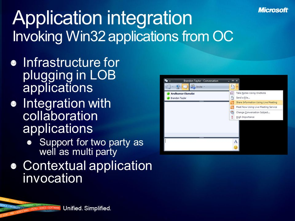 Application integration Invoking Win32 applications from OC