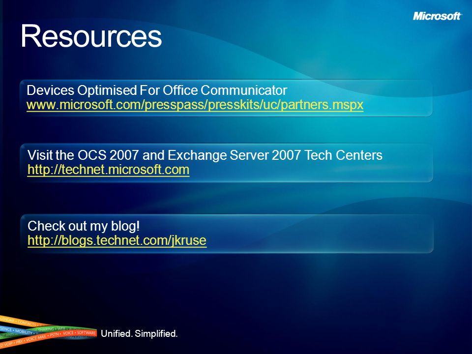 Resources Devices Optimised For Office Communicator