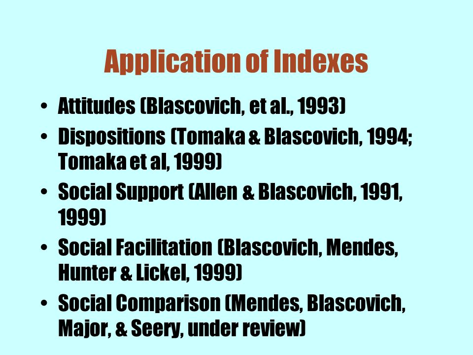 Application of Indexes