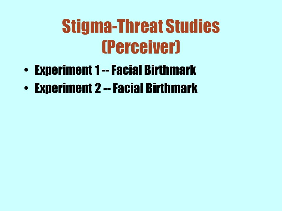 Stigma-Threat Studies (Perceiver)