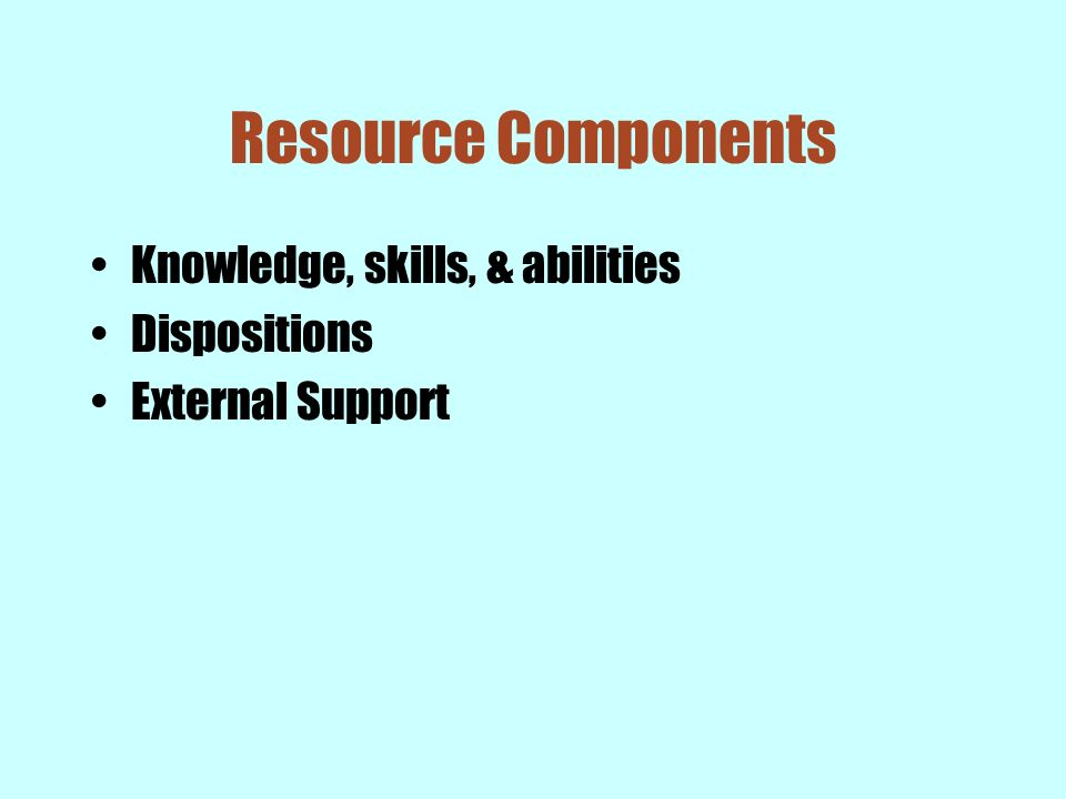Resource Components Knowledge, skills, & abilities Dispositions
