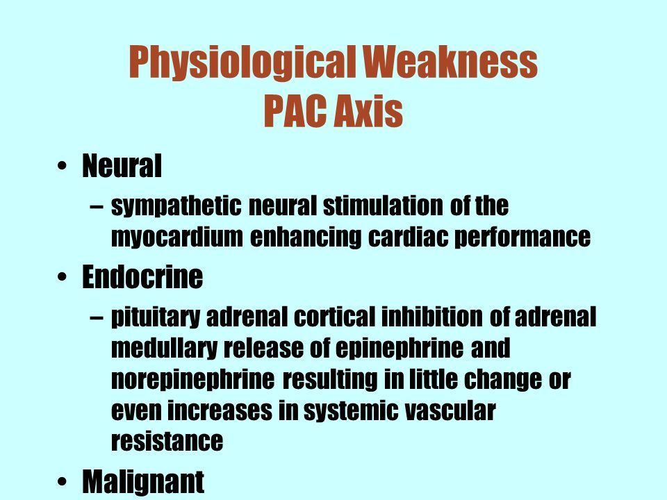 Physiological Weakness PAC Axis