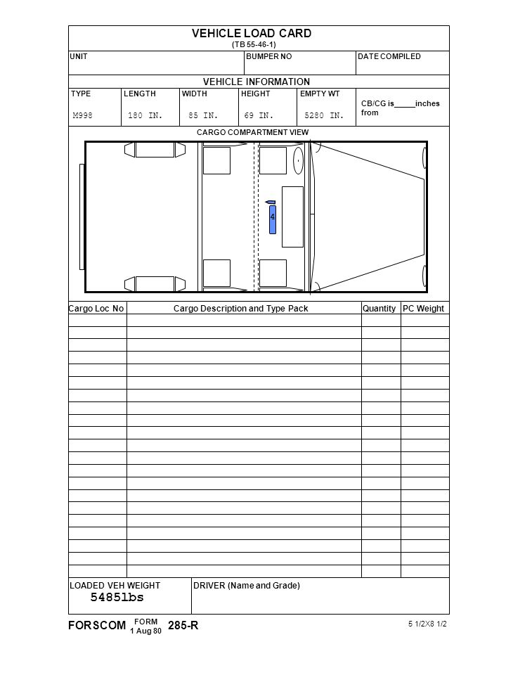 5485lbs VEHICLE LOAD CARD FORSCOM 285-R VEHICLE INFORMATION 4
