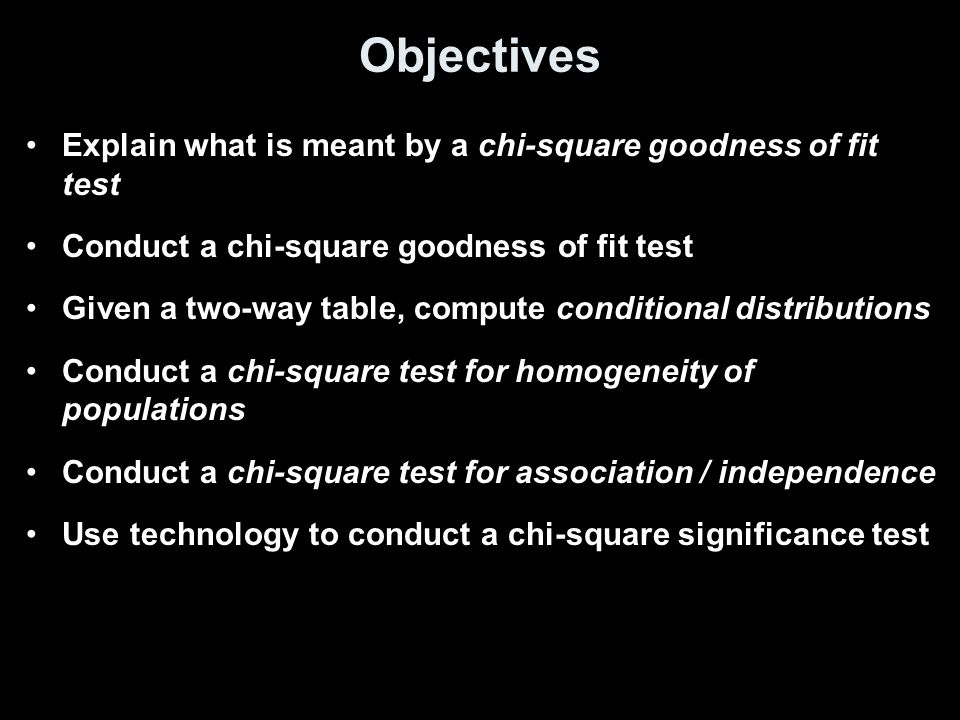 Objectives Explain what is meant by a chi-square goodness of fit test