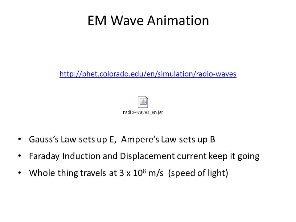 EM Wave Animation Gauss's Law sets up E, Ampere's Law sets up B