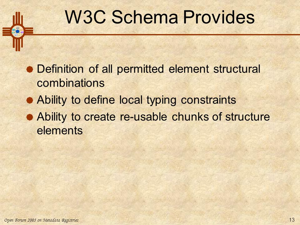 W3C Schema Provides Definition of all permitted element structural combinations. Ability to define local typing constraints.